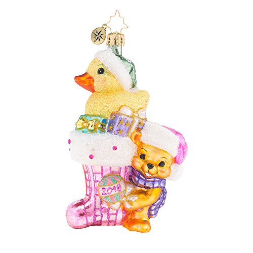 Christopher Radko 2018 Down with Fur in Pink Baby Girl Themed Glass Ornament
