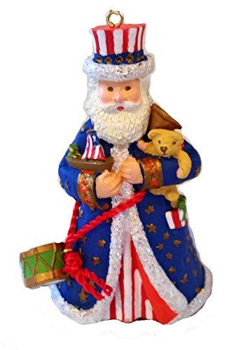 Stars & Stripes Santa Christmas Hanging Ornament
