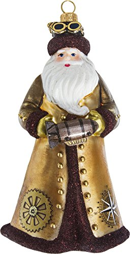 Joy To The World Glitterazzi Steampunk Santa With Zeppelin Polish Glass Christmas Tree Ornament
