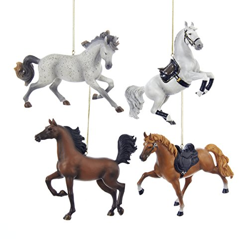 Kurt Adler 5.25″ Resin Horse Ornament 4/asstd: Tennessee Walking Horse, Andalusian, Arabian & Lippinzaner.