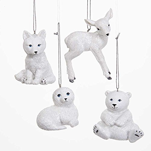 Kurt Adler 2.75-Inch Winter Baby Animal Ornament Set of 4