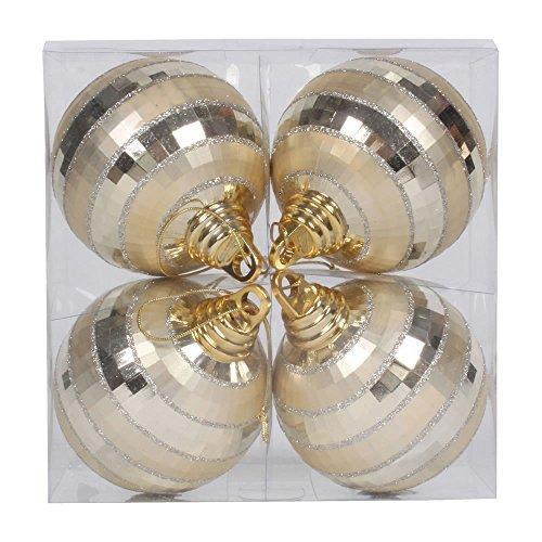 Vickerman Shiny-Matte Finish with Glitter Accents Christmas Mirror Ball Ornaments, 4 per Box, 4″, Champagne