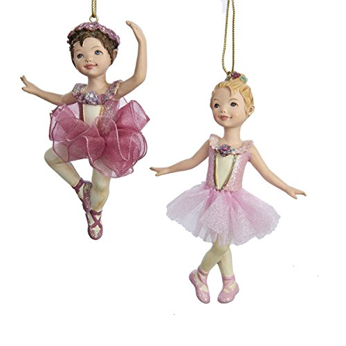 Kurt Adler 4.25-Inch Ballet Girl Christmas Ornaments 2 Assorted