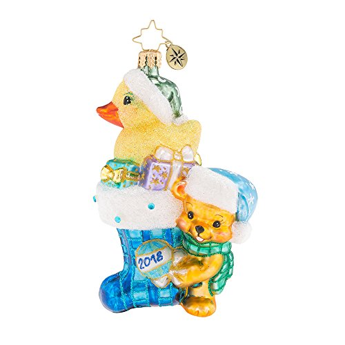 Christopher Radko 2018 Down with Fur in Blue Baby Boy Themed Glass Ornament