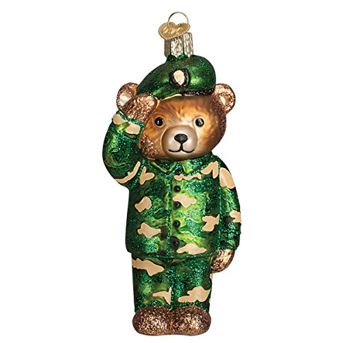 Old World Christmas Army Bear Glass Blown Ornament