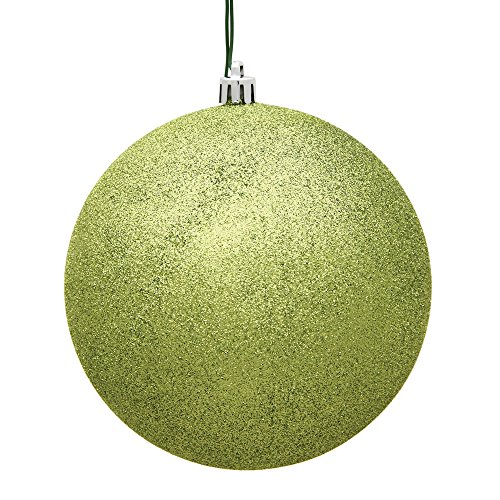 Vickerman 4″ Lime Glitter Ball Christmas Ornament with Drilled and Wired Cap, 6 per Bag