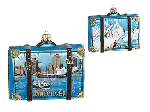 Vancouver Canada Travel Suitcase Glass Christmas Ornament Whistler 1 Decoration