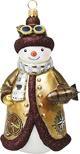 Joy To The World Glitterazzi Steampunk Snowman with Zeppelin Polish Glass Christmas Tree Ornament