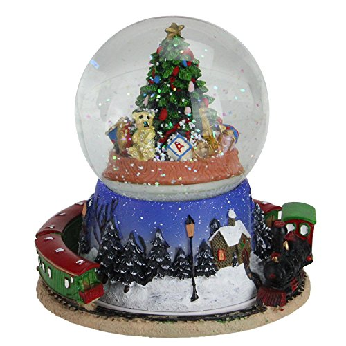 Northlight 6.5″ Christmas Tree and Train Revolving Musical Glitterdome Decoration