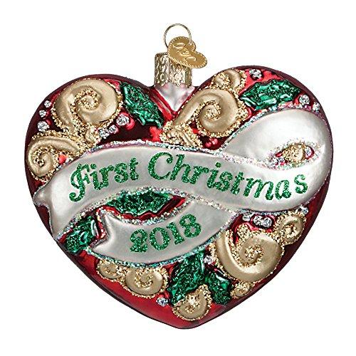 2018 First Christmas Heart Glass Blown Ornament