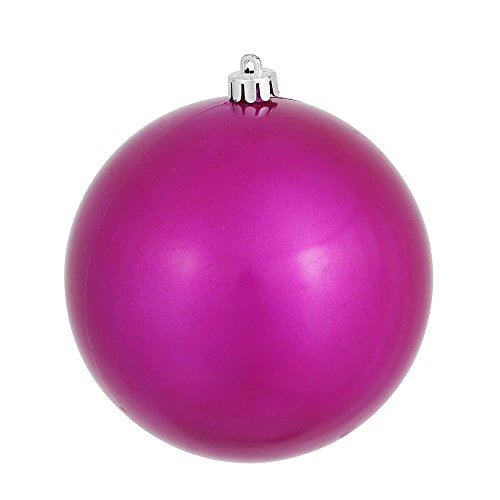 Vickerman Candy Finish Seamless Shatterproof Christmas Ball Ornament, UV Resistant with Drilled Cap, 6 per Bag, 4″, Magenta