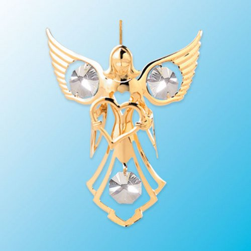 Angel W/ Heart Hanging Sun Catcher or Ornament….. With Clear Swarovski Austrian Crystals
