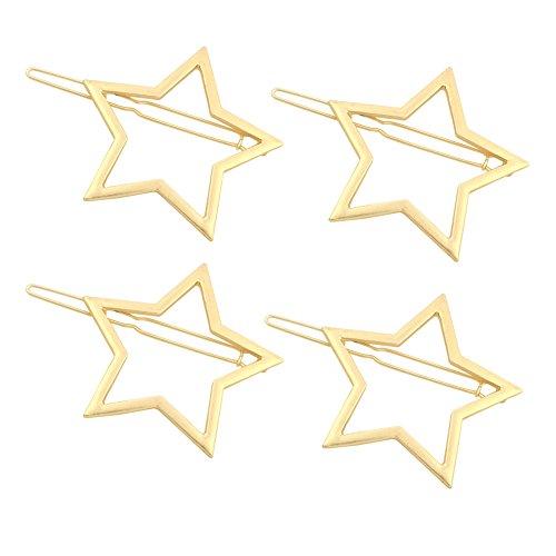 Olpchee 4 Pcs Fashion Gold Hair Clips for Girls Women Headwear Simple Hollow Star Ponytail Hairpins Wedding Bridesmaids Bridal Ornament
