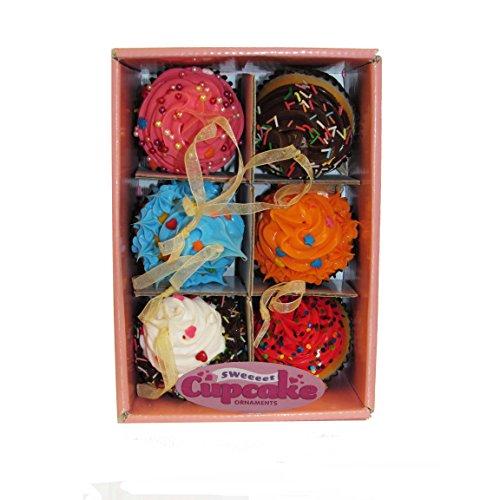 Kurt Adler Foam Cupcake Ornaments (Set of 6), 2.75″