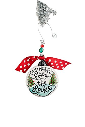 Glory Haus 4 X 4 Our Happy Place the Lake Puff Ornament, Multicolor