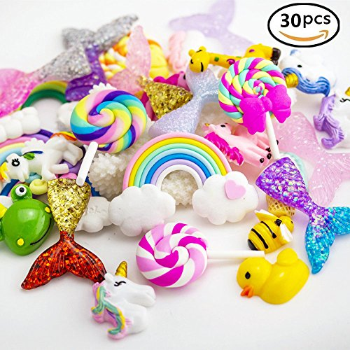 Slime Charms Beads Supplies Set – ANPHNIE (2018 NEW) 30pcs Craft Buttons Assorted Unicorn Mermaid Tail Rainbow Lollipop Animals Resin Flatback for Craft Making, Ornament Scrapbooking DIY Crafts