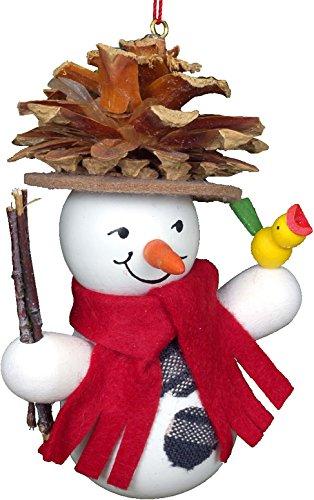 "Alexander Taron Importer 10-0201 – Christian Ulbricht Ornament – Snowman Wearing Pinecone Hat – 3.5″"" H x 3″"" W x 2″"" D"