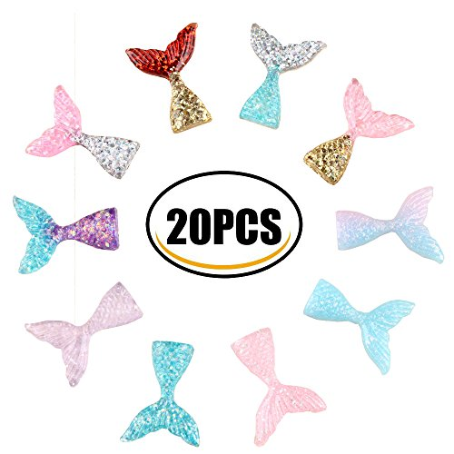 20 Pcs Slime Charms with Mermaid Tail Mini Flatback of Slime Beads Giltter For Ornament Scrapbooking DIY Crafts