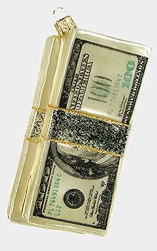 Wad of Cash One Hundred Dollar Bills Glass Christmas Ornament Money Decoration