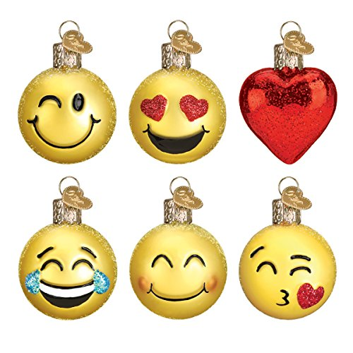 Old World Christmas Mini Emoji Set Glass Blown Ornament