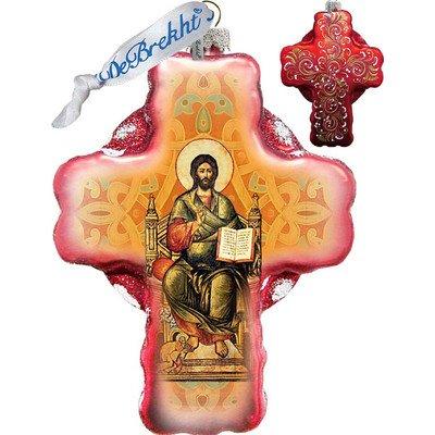 G. Debrekht Jesus Cross Glass Ornament
