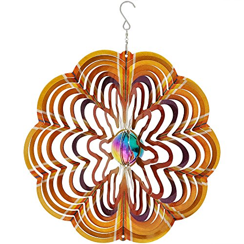 Sunnydaze Garden Wind Spinner, 3D Reflective Whiligig with Outdoor Hanging Hook, Gold Dust