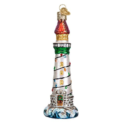 Old World Christmas Lighthouse Collection Glass Blown Ornament (Holiday Lighthouse)