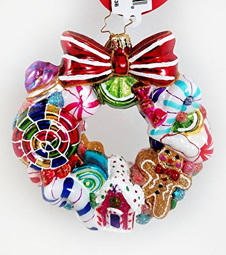 Christopher Radko Candy Sweetest Swirl Wreath Glass Ornament Ginger Bread