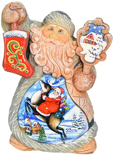 G. Debrekht Mini Tale Illustrated Santa on Reindeer