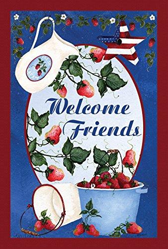 Toland Home Garden Berries and Cream Welcome 12.5 x 18 Inch Decorative Patriotic Summer Friends Strawberry Garden Flag