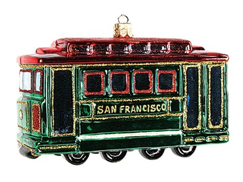 San Francisco Cable Car Polish Glass Christmas Ornament Made Poland Decoration