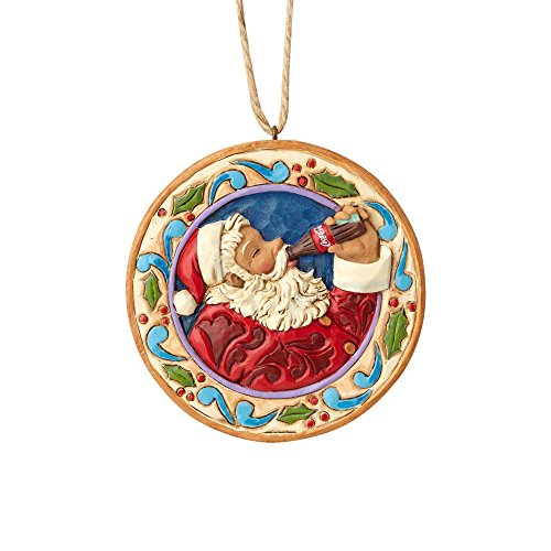 Department56 Enesco 0.45 Inches Height x Width x 3.1 Inches Length Santa Disk Decorative Hanging Ornament x x, Multicolor