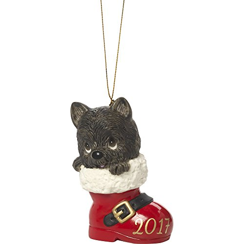 Precious Moments Have A Pawsitively Soleful Christmas Dog In Boot  Dated 2017 Bisque Porcelain Ornament 171008