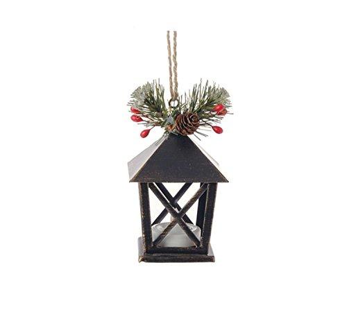 Raz 4.5″ Country Cabin Lighted Black & Gold Distressed Mini Lantern Christmas Ornament