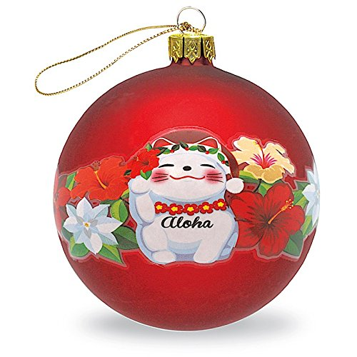 HAWAIIAN ASIAN MANEKI NEKO GOOD LUCK CAT MELE KALIKIMAKA CHRISTMAS GLASS BALL GIFT ORNAMENT