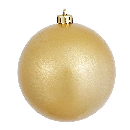 Vickerman Candy Finish Seamless Shatterproof Christmas Ball Ornament, UV Resistant with Drilled Cap, 6 per Bag, 4″, Gold