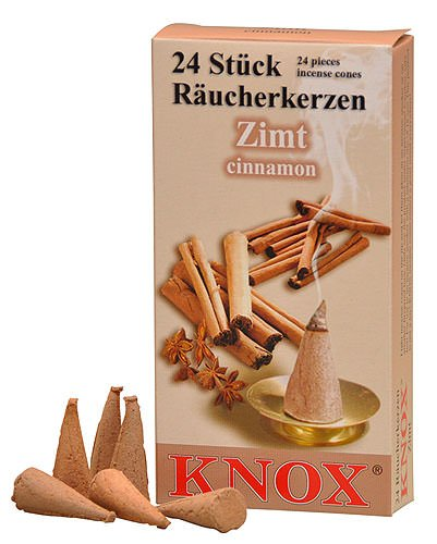KNOX Cinnnamon Scented Incense Cones, Pack of 24, Made in Germany