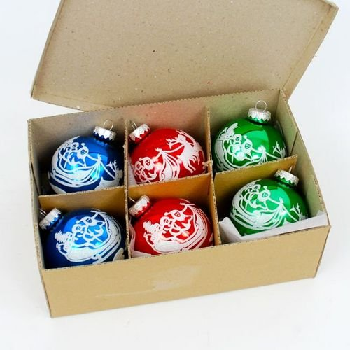 Decorated Glass Ball Festive Hanging Ornament – Boxed Set of 6 Assorted Colors