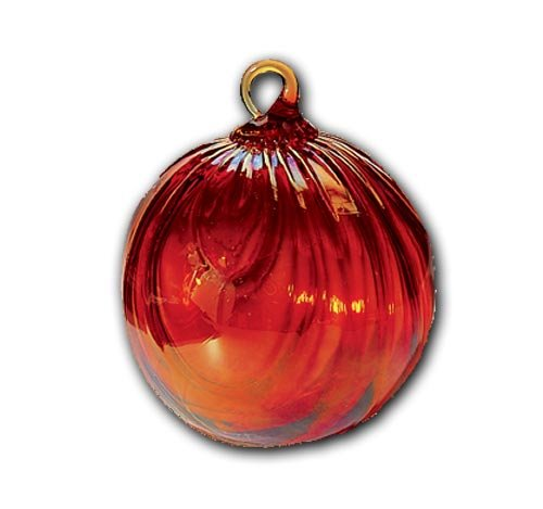Glass Eye Studio Red Draped Hand Blown Glass Round Ornament