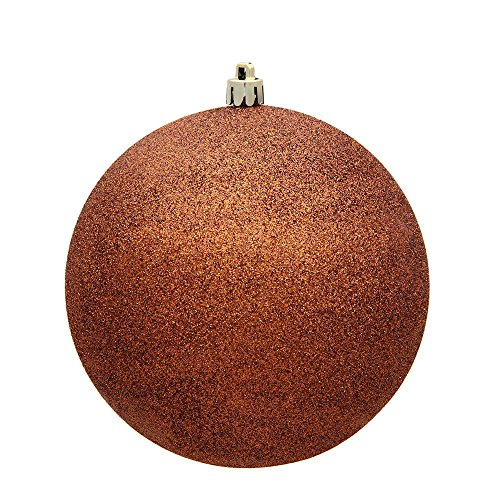 Vickerman 3″ Copper Glitter Ball Christmas Ornament with Drilled and Wired Cap, 12 per Bag