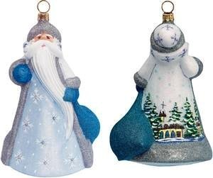 Joy to the World – Glitterazzi Silent Night Santa – Blown Glass Ornament