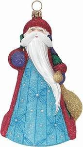 Joy to the World – Glitterazzi Santa Mosaic blue – Blown Glass Ornament