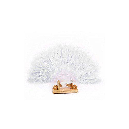 WensLTD Goose Feather Handheld Folding Fan (White)