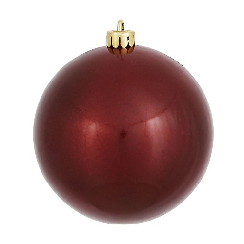 Vickerman Candy Finish Seamless Shatterproof Christmas Ball Ornament, UV Resistant with Drilled Cap, 6 per Bag, 4″, Burgundy