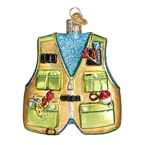 Old World Christmas Fishing Gear Glass Blown Ornament (Fishing Vest)