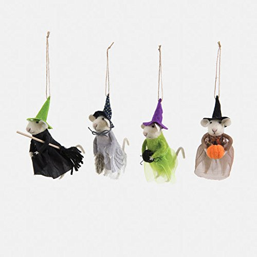 180 Degrees Felt Mouse Witch Ornaments Set of 4 – Halloween 4.5″ Adorable