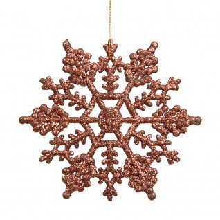 Vickerman 625″ Mocha Glitter Snowflake Christmas Ornaments, 12 per Box