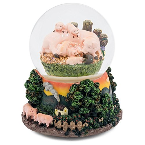 Think Crate Sleeping Pigs Family On Farm Musical 100mm Snow Globe