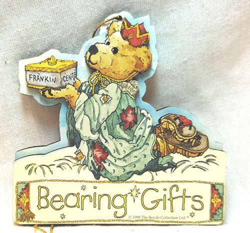 Boyd's Bear gift tag Frankeincense King Christmas Bearing Gifts Ornament 3D Layered