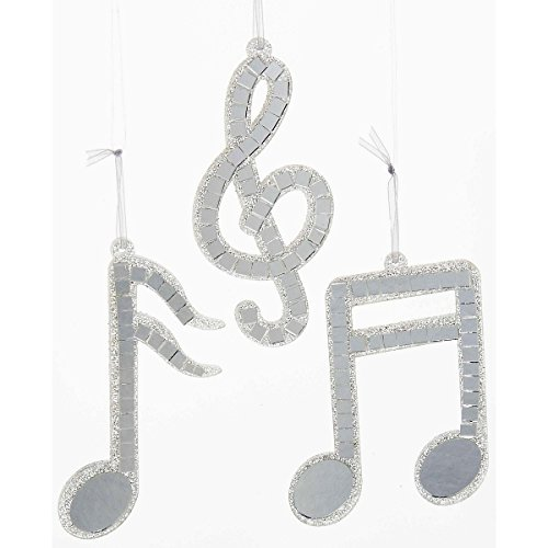 Kurt S. Adler Silver Mirror Musical Note Ornament 3/Assorted